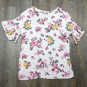 🌵 Floral Rose Print Oversized Tee T-shirt Flutter
